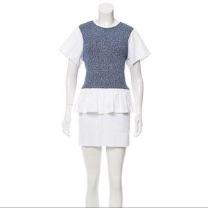 Thakoon Addition White & Blue Knit Peplum Dress